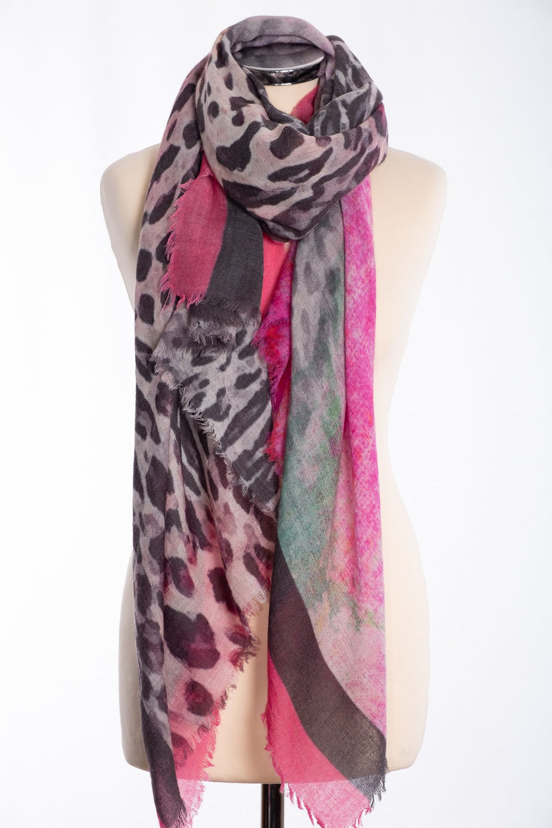 Ombre leopard print scarf, pink, tied view