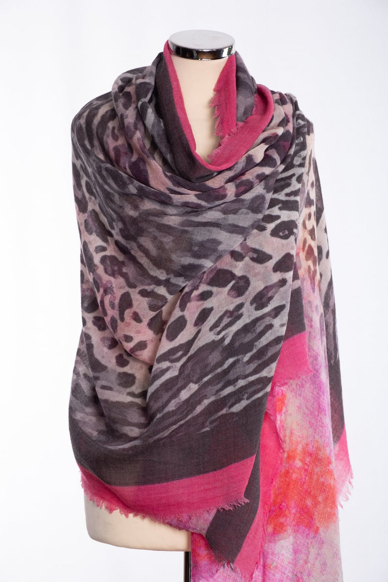 Ombre leopard print scarf, pink, wrap view