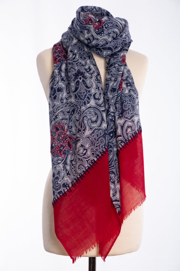 Ombre paisley design scarf, navy, tied view
