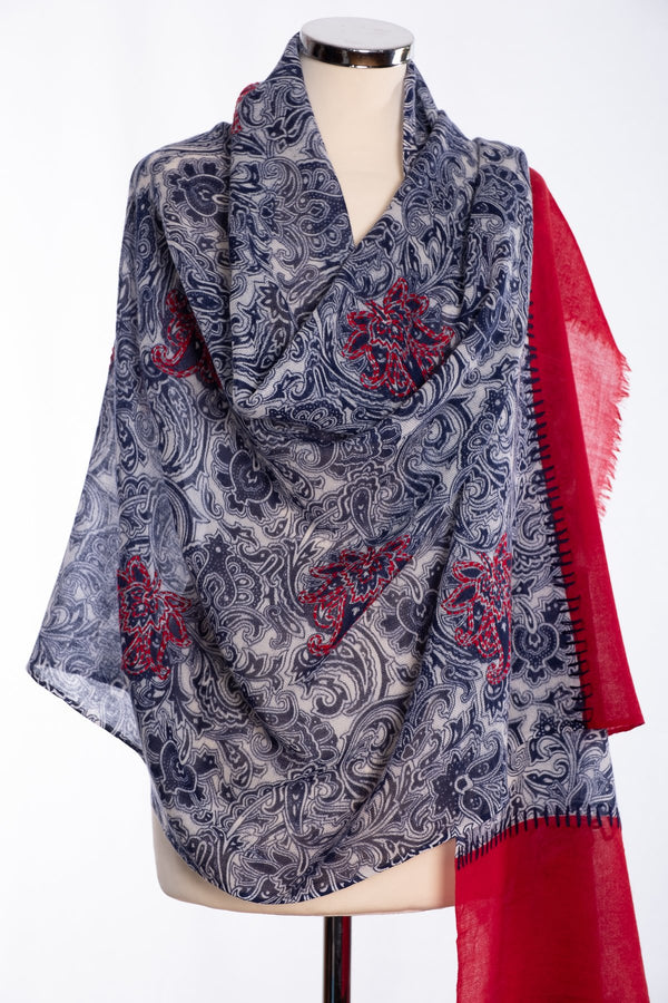 Ombre paisley design scarf, navy, wrap view