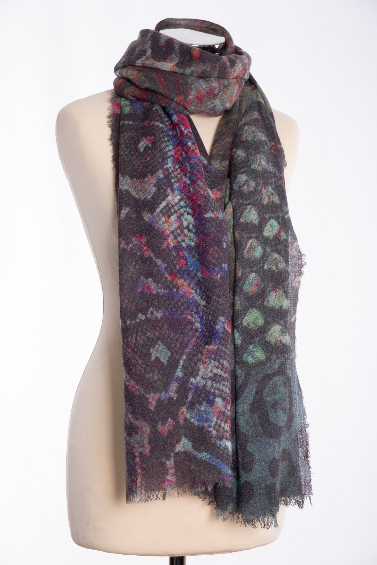 Ombre abstract snakeskin scarf, grey, tied view