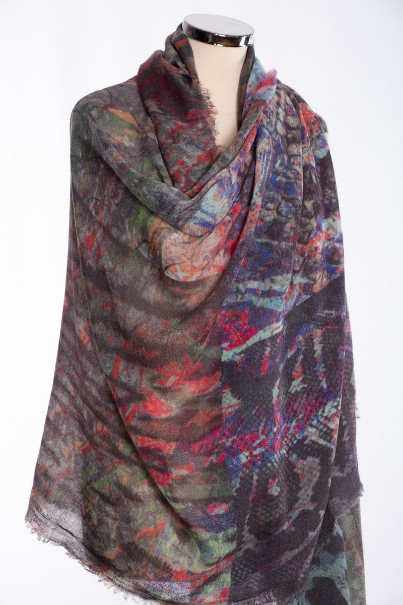 Ombre abstract snakeskin scarf, grey, wrap view