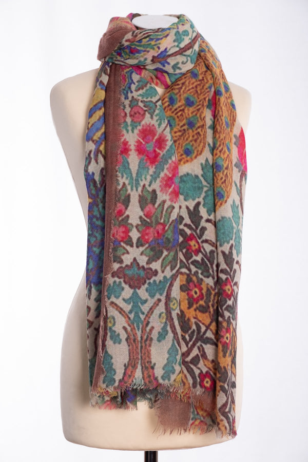 Ombre tree of life scarf, brown, tied view