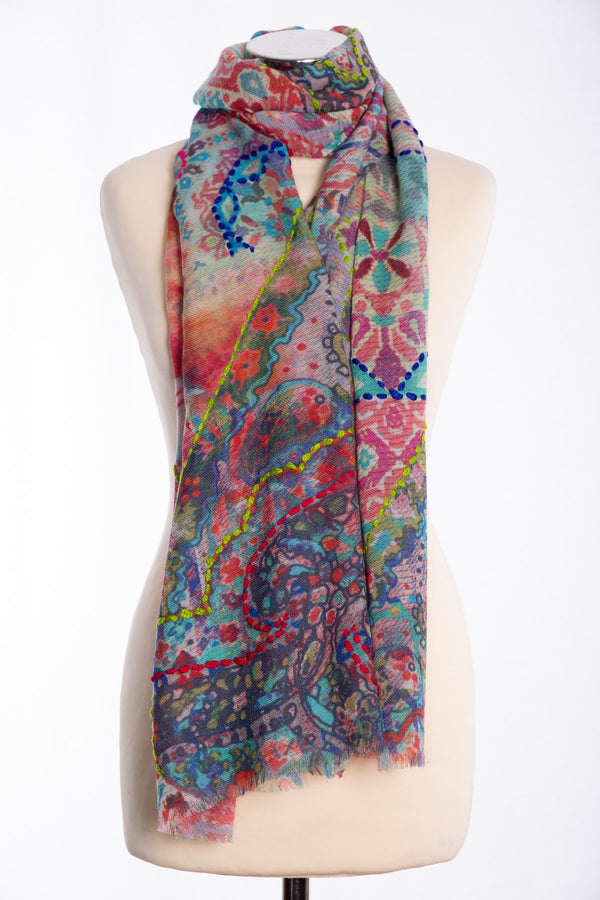 Ombre tapestry design scarf, multi colour, tied view