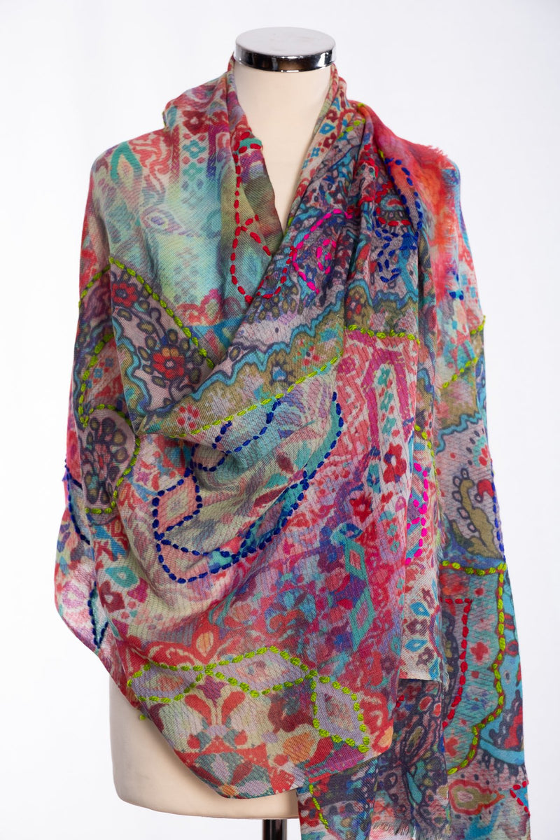 Ombre tapestry design scarf, multi colour, wrap view