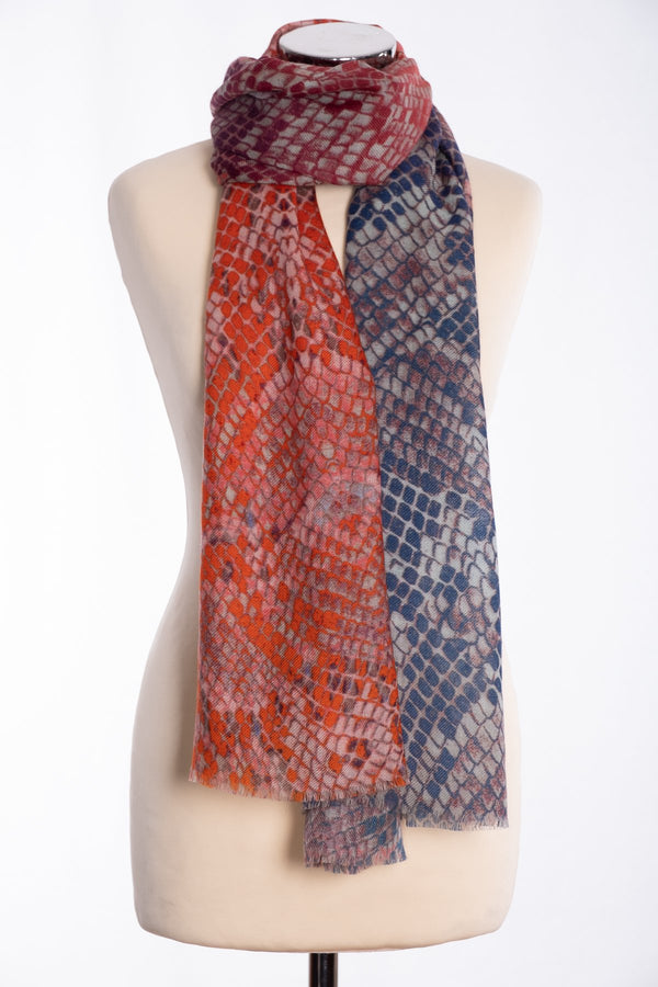 Ombre snakeskin design scarf, navy, tied view