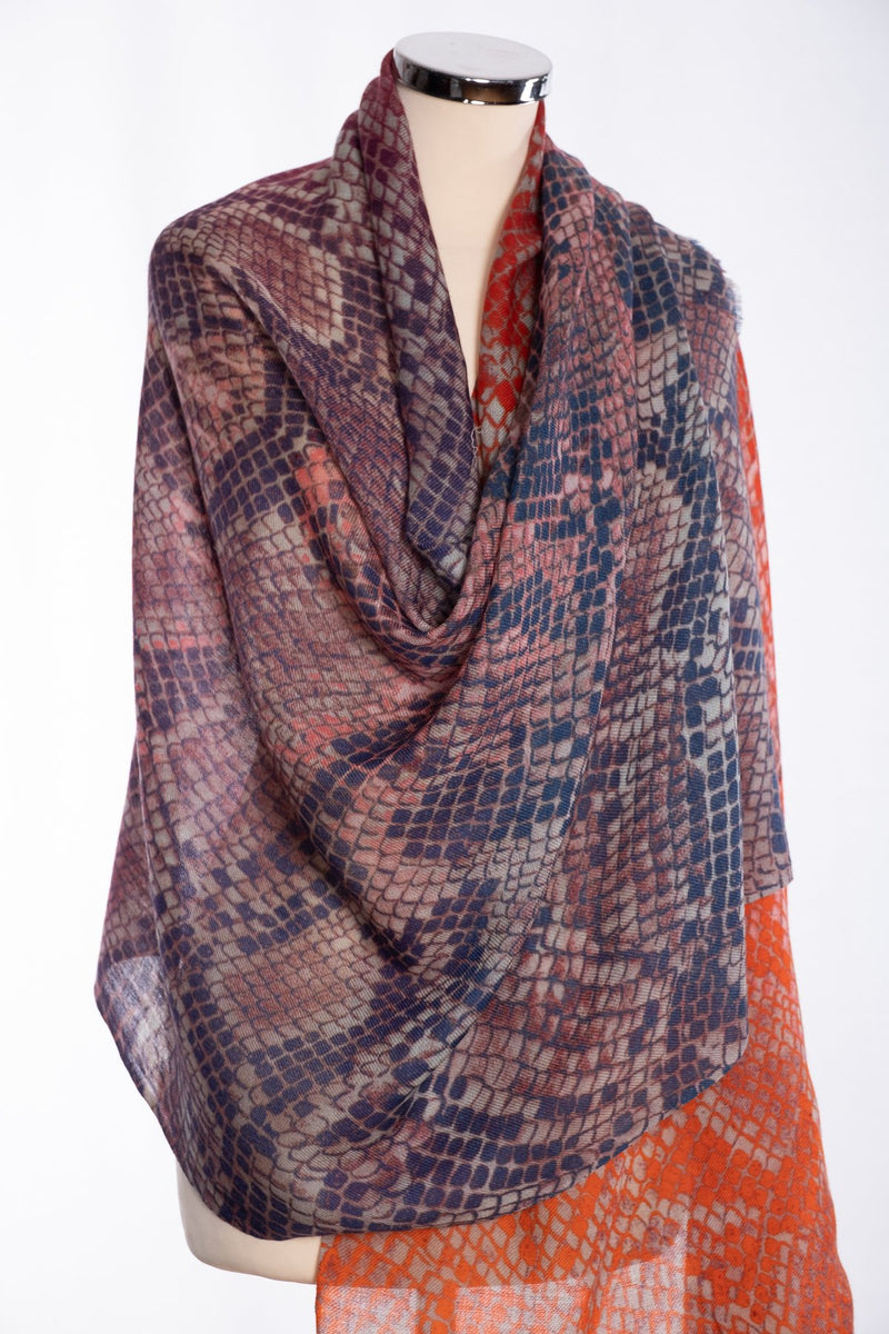 Ombre snakeskin design scarf, navy, wrap view