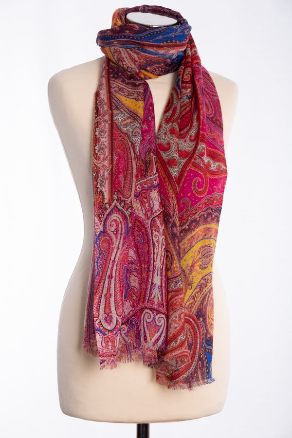 Ombre paisley print scarf, red, tied view