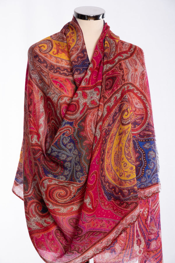 Ombre paisley print scarf, red, wrap view