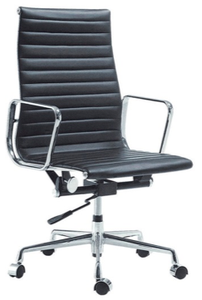 BLACK High Back Half Leather Chair (Height Adjustable) YS-6831