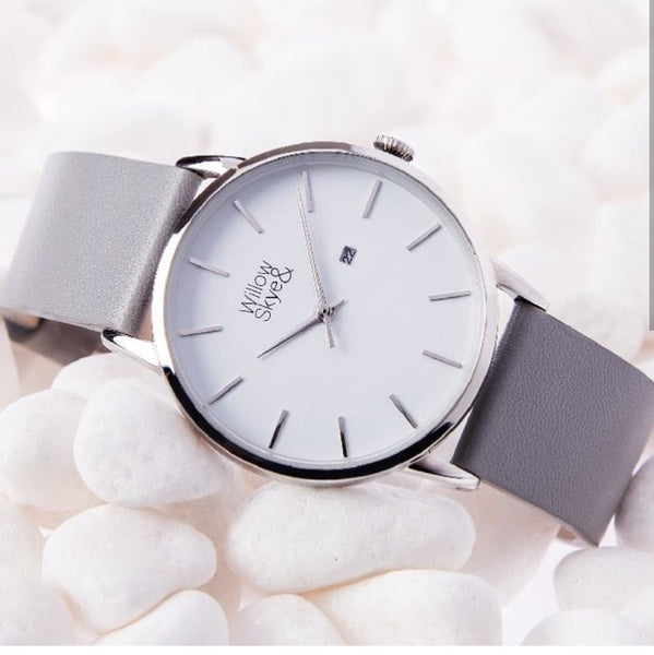 The Skye - White / Silver with Grey Leather Band