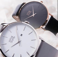 The Willow - Black / Rose Gold with Black Leather Band