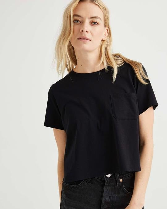 Boxy Crop Tee, Black