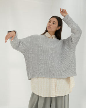 Pearl Blue Cable Sweater