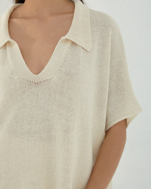 Natural Knit Linen Polo