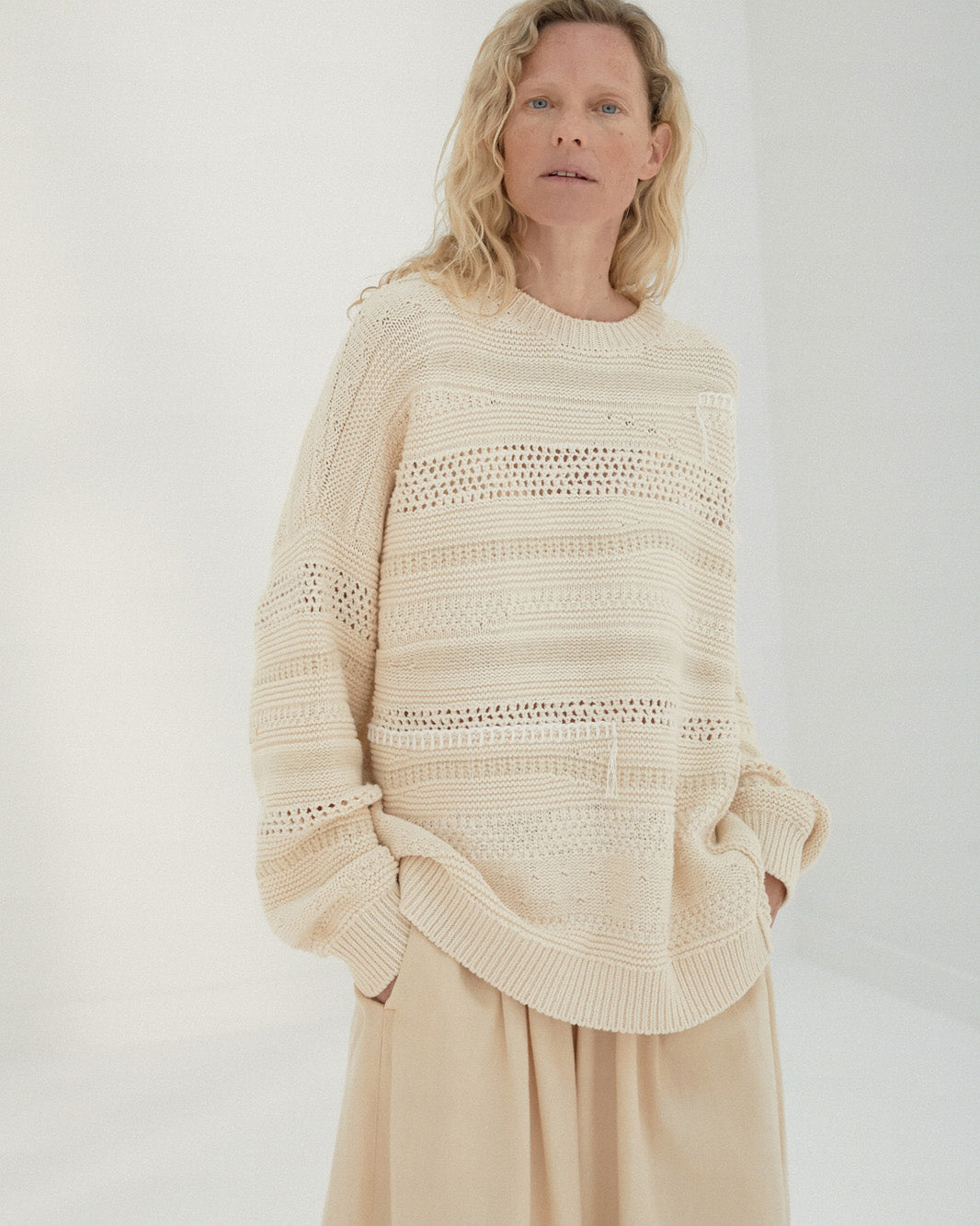 Natural Patched Sweater