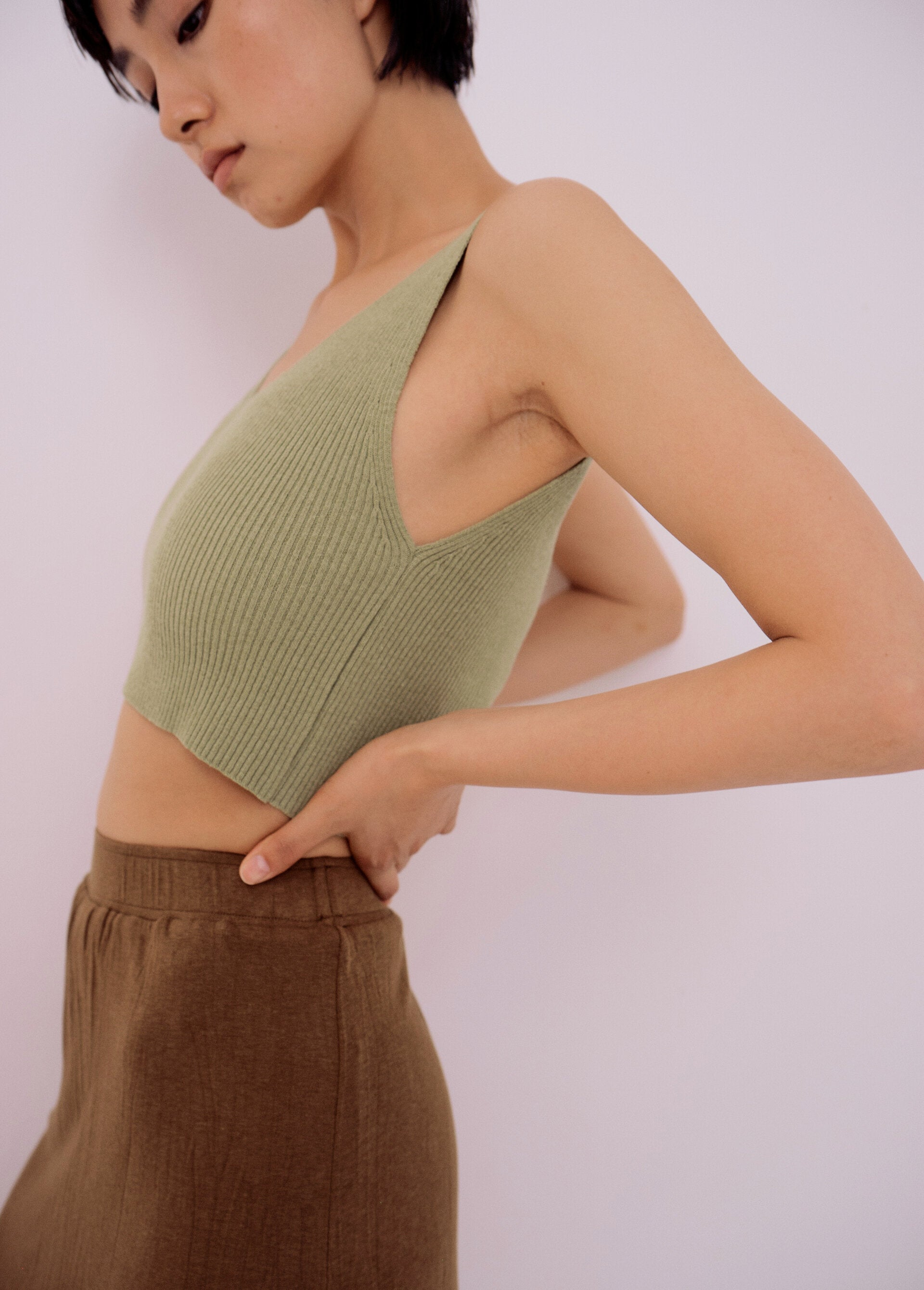 Ribbed Knit Crop, Light Green