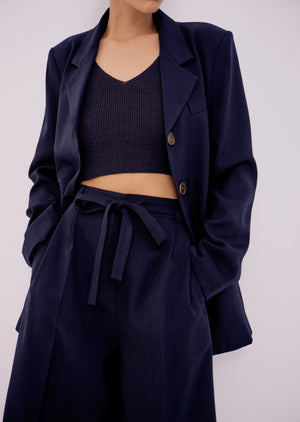 Ribbed Knit Crop, Navy