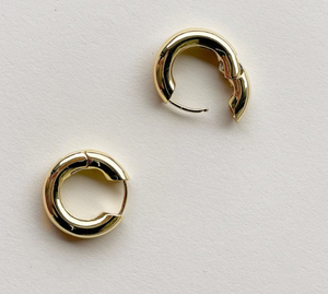 Chunky Hoops in Gold with Silver Oval Link Charm