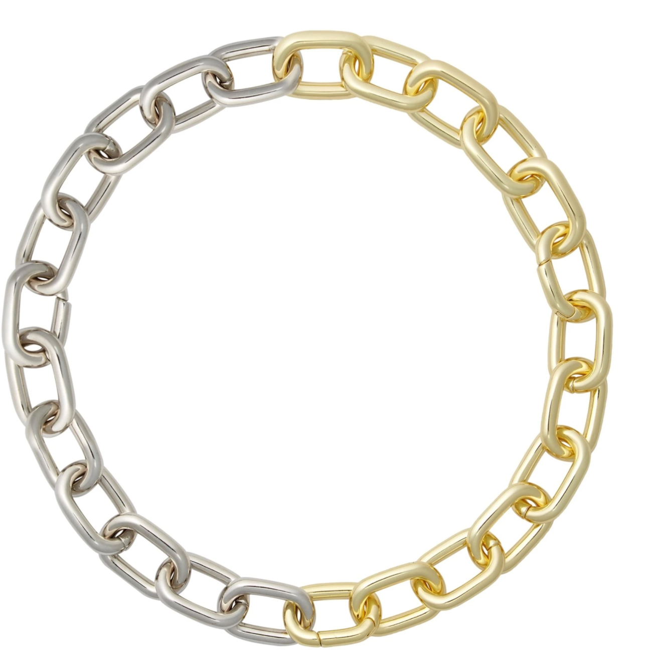 Interchangeable Link Necklace in Gold and Silver SPlit