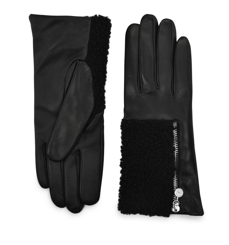 Gloves with Shearling Zip, Large