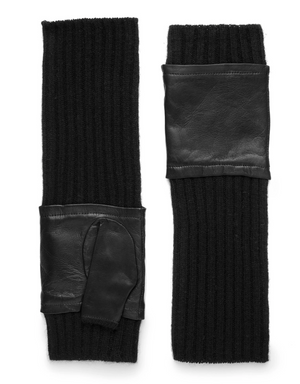 Mittens with Leather, Black Size Medium/Large