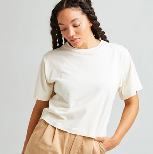 Relaxed Short Sleeve Cropped Bone Tee-Shirt