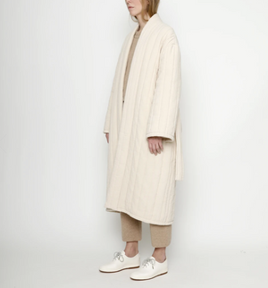 Quilted Long Coat, Cream
