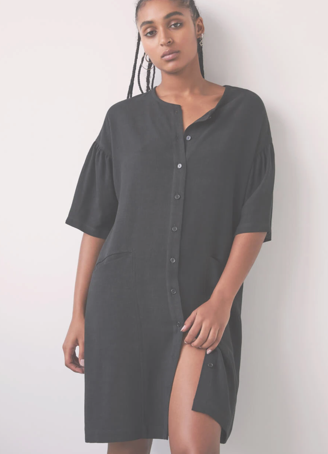 Poesie Shirt Dress, Black
