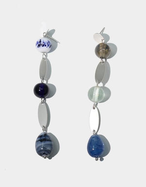 Blu Earrings, Mixed Blue, Sterling SIlver