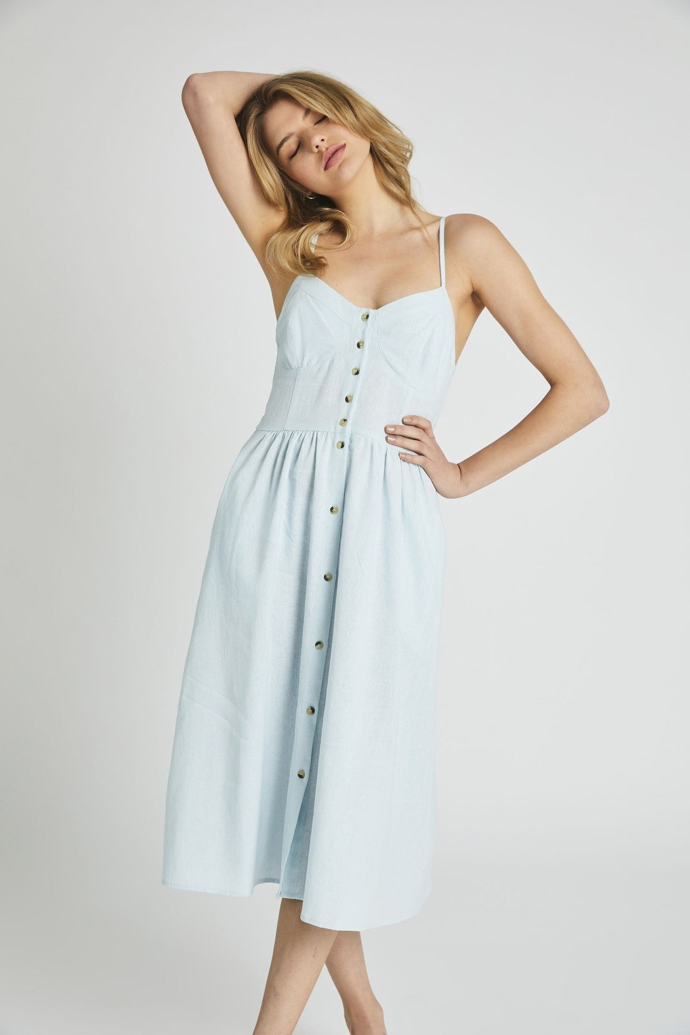 Eve Linen Dress, Pale Sky