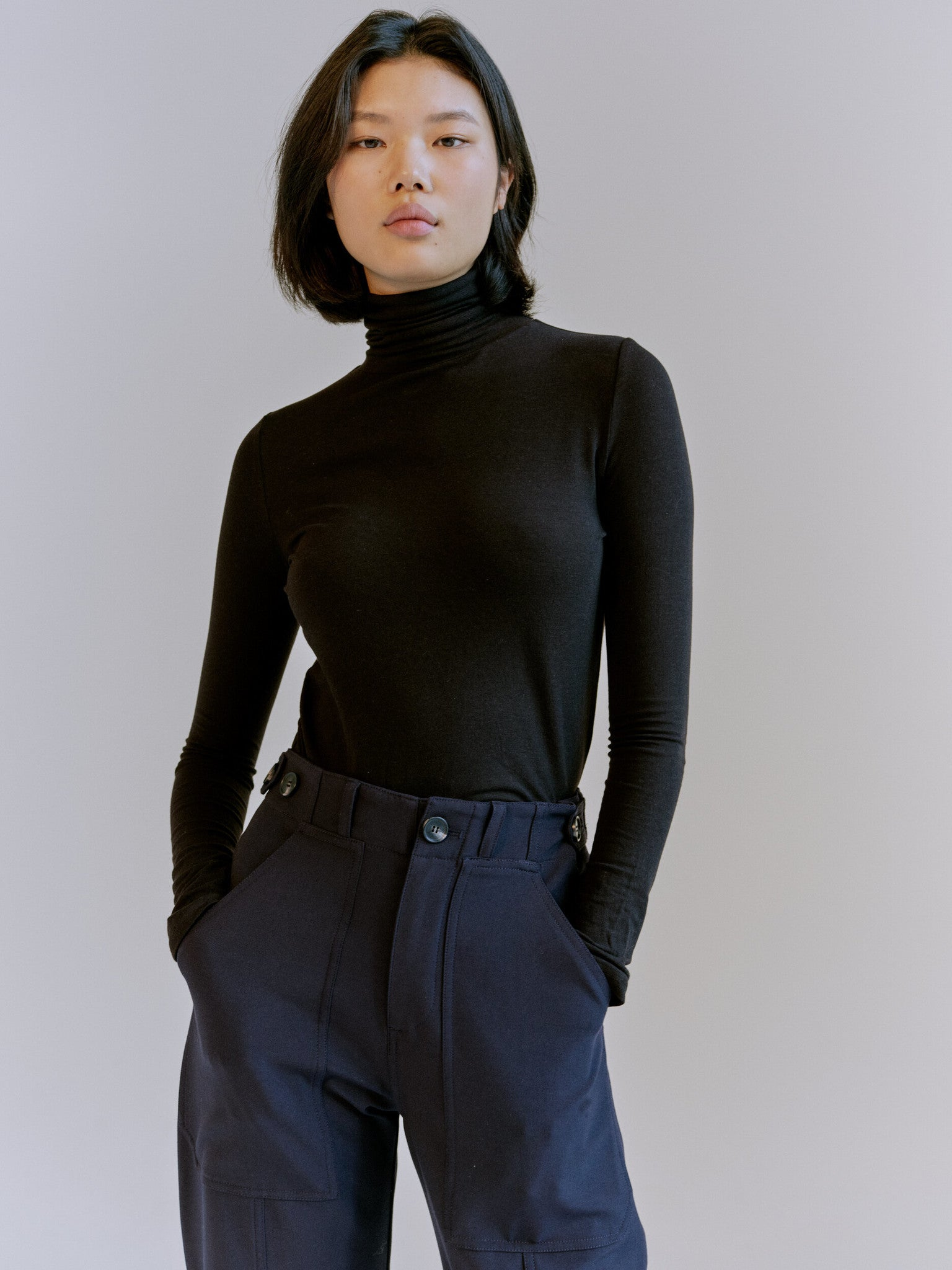 Roll Neck Jersey Top, Black
