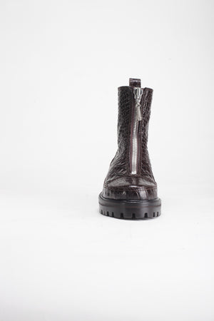 Chris, Brown Embossed Croc Leather Boots