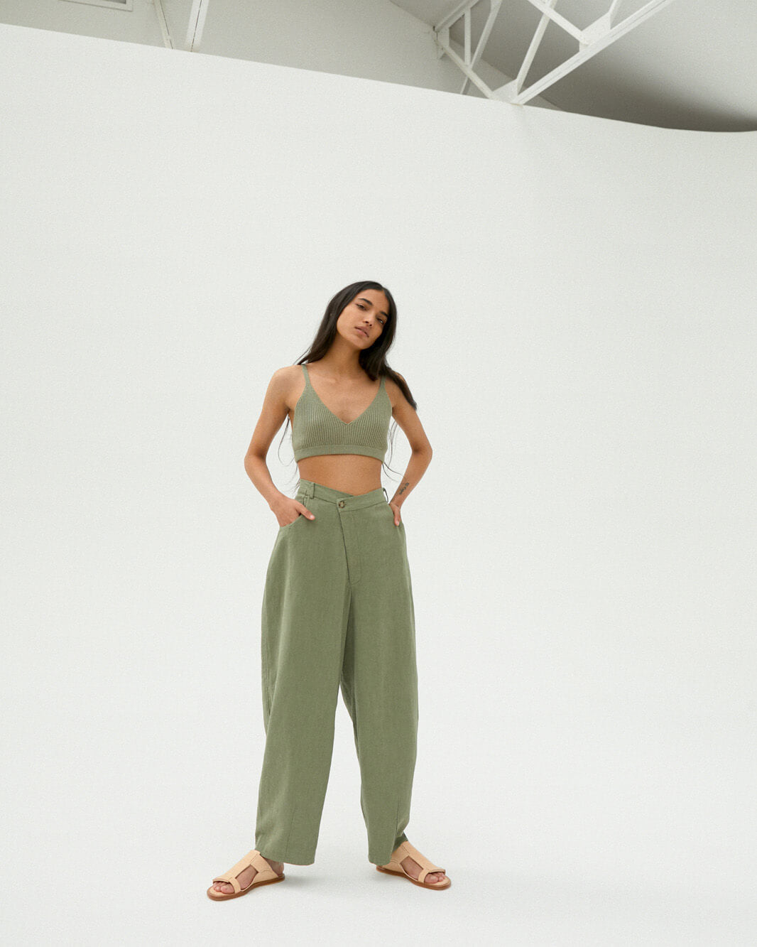 Crossed Trousers, Sage Green, ONE SIZE FITS ALL