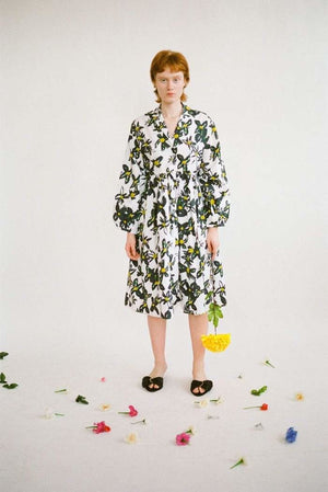 Gathered Shirt Dress in Daisy Poplin