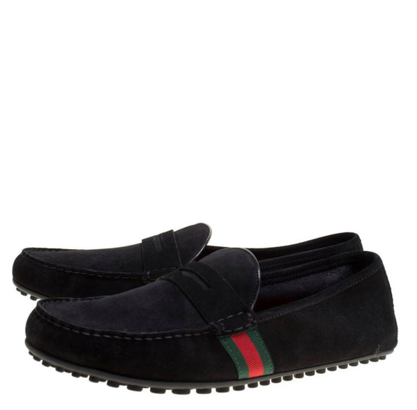 Black Suede Trim Detail Loafers