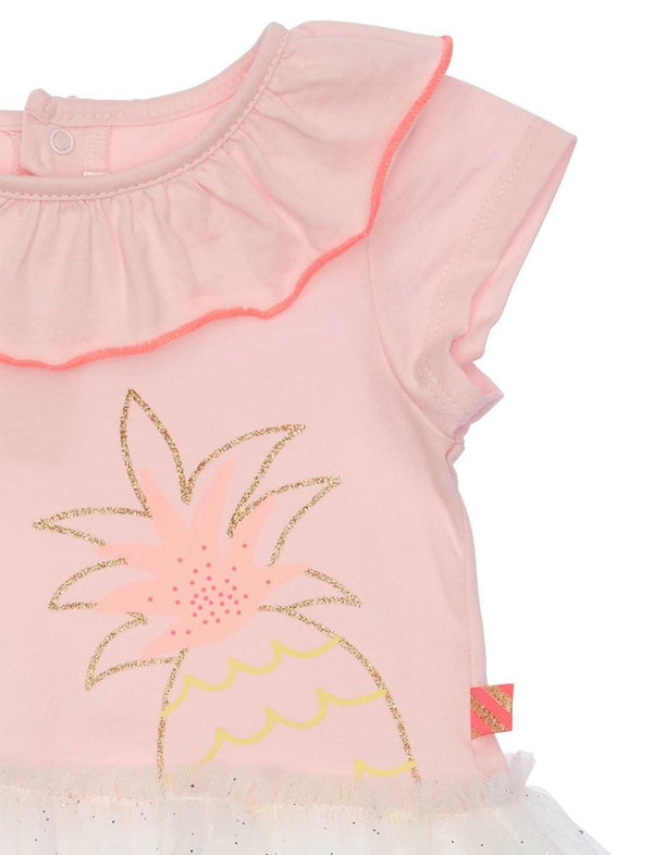 Pinapple Print Jersey&Tulle Dress