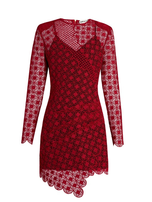 Red Long-Sleeve Lace Dress