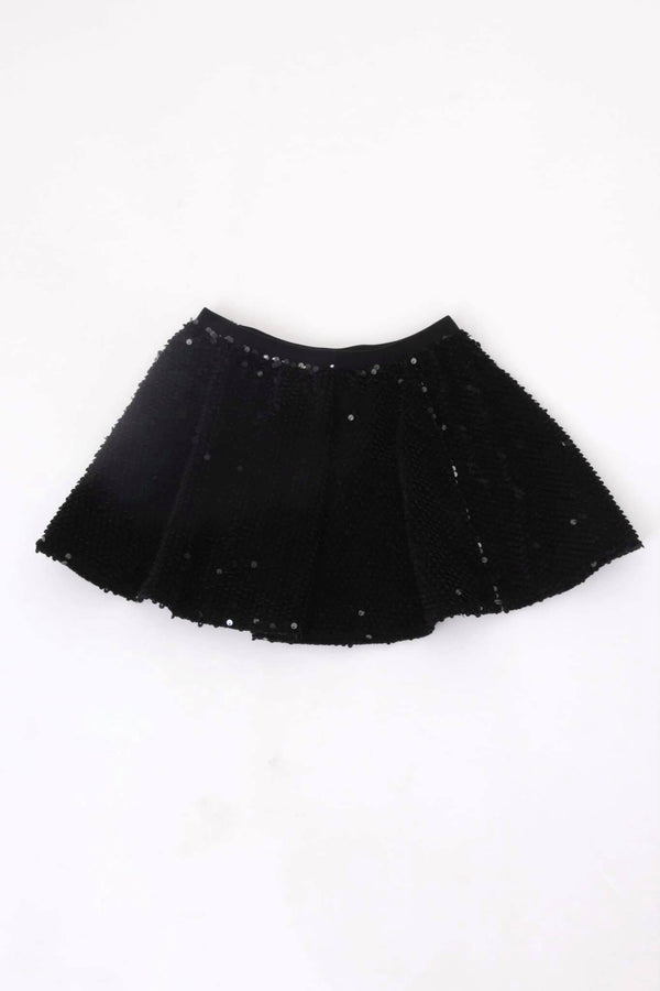 Black Sequinned Mini Skirt