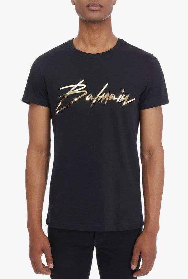 Black T-Shirt With Gold Logo