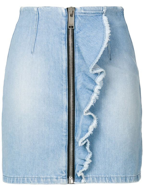 Denim Mini Zip Skirt