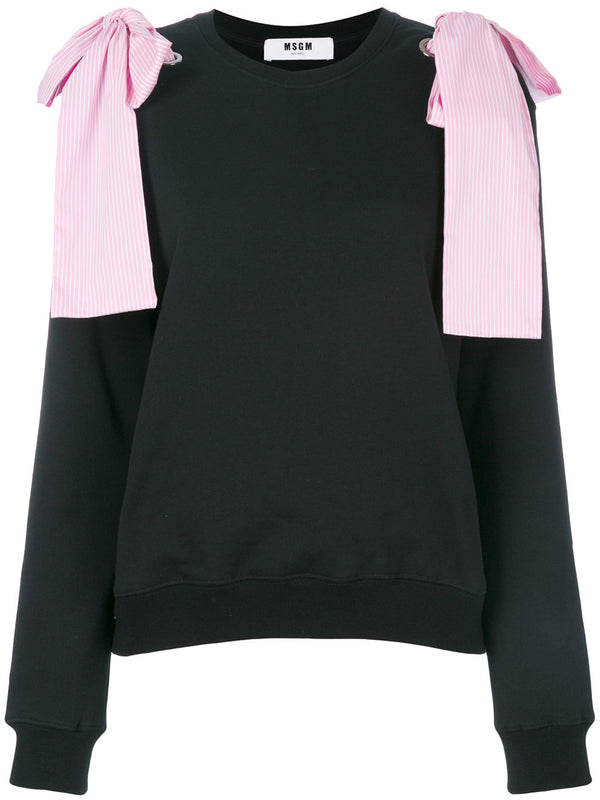 Black Sweatshirt With Pink Ribbons