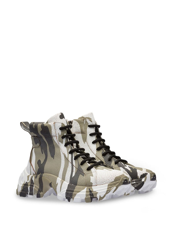 Crackled Camouflage High-Top Sneakers