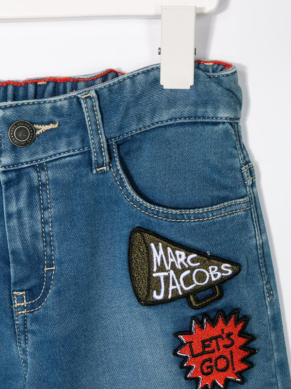 Logo Patchwork Denim Shorts