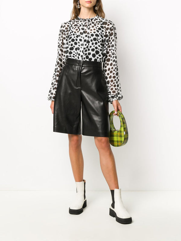 Faux Leather Knee-Length Shorts