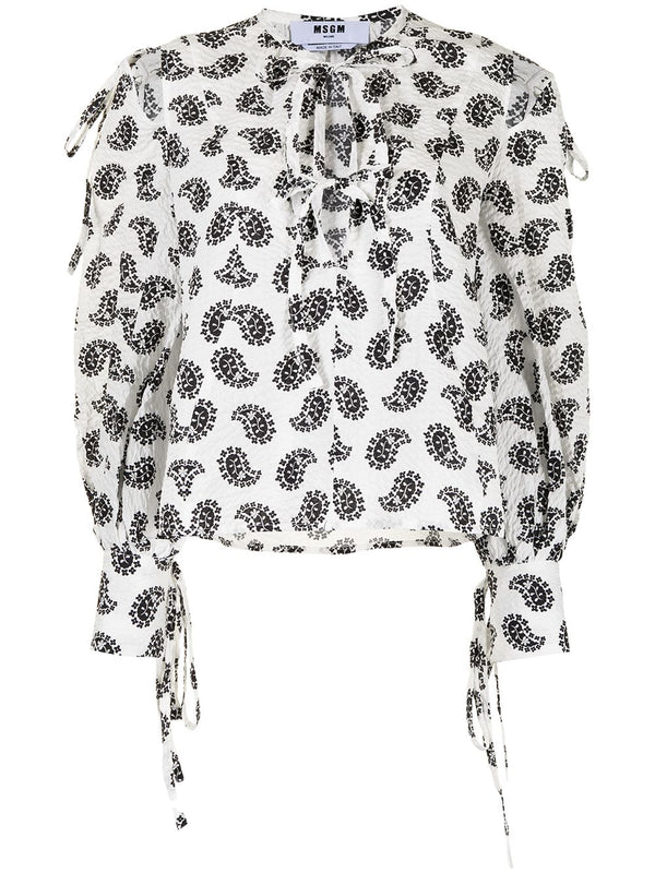 Paisley-Print Cut-Out Blouse