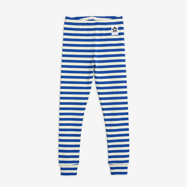 Blue Stripe Ribbed Leggings