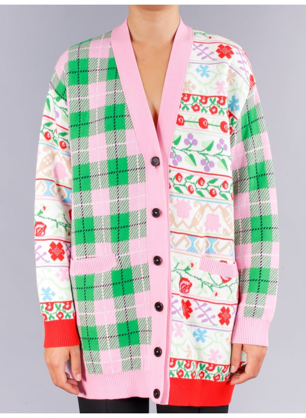 Floral Check Patchwork Cardigan