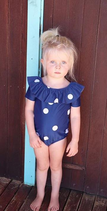 Blue Swimsuit with White Dots