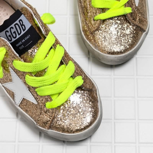 Gold Star Sneakers with Neon Ties